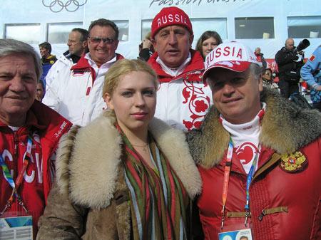 Фото с Л.Тягачевым на лыжной гонке в Праджелато, Зимние Олимпийские шгры, Турин, 22 февраля 2006 года.